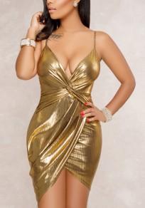 Golden Irregular Glitter Spaghetti Strap Ruched Deep V-neck Bodycon Clubwear Party Midi Dress