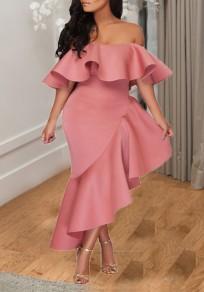 Pink Irregular Ruffle Falbala Off Shoulder Backless Banquet Elegant Party Maxi Dress