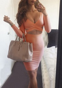 Orange Pink Plain Cut Out V-neck Long Sleeve Mini Dress