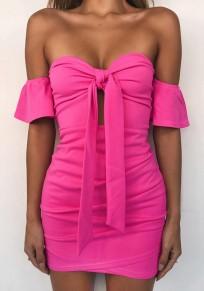 Mini robe rose framboise volant bateau cou coude mode