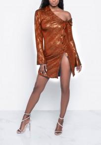 Red Patchwork Single Breasted Irregular Turndown Collar Fashion Mini Dress