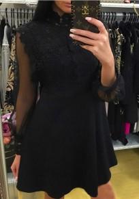 Mini vestido encaje de adina cubierto manga larga fiesta de la moda negro