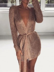 Rose Gold Bright Wire Sashes Bodycon Clubwear Deep V-neck Party Mini Dress