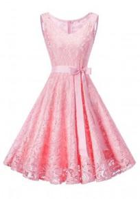 Light Pink Pleated Lace Belt Tutu V-neck Elegant Party Midi Dress
