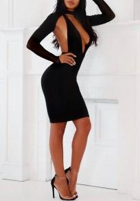Mini vestito v-collo scollato aderente senza maniche manica lunga partito nero