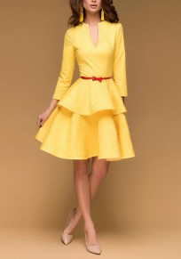 Yellow Ruffle Pleated V-neck High Waisted Tutu Homecoming Party Sweet Cute Midi Dress