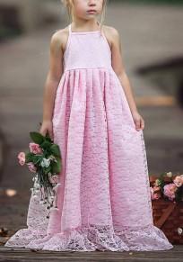 Fille bébé robe longue en dentelle à volants licou dos nu élégant de soirée rose