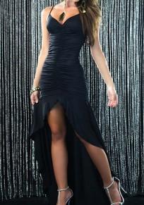 Black Irregular Ruffle Cut Out V-neck Party Maxi Dress