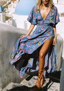 Blue Floral Tassel Pleated Drawstring Bohemian Flowy Beach Deep V-neck Maxi Dress