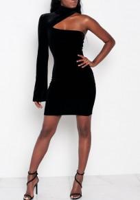 Schwarz Ausgeschnitten aus Schulter Reißverschluss Bodycon plus Größe Langarm Minikleid