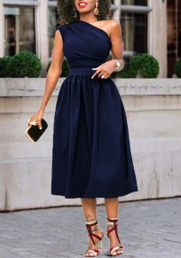 Navy Blue Asymmetric Shoulder Pleated Ruched Tutu Banquet Elegant Party Maxi Dress