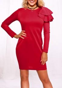 Red Irregular Ruffle Long Sleeve Valentine's Day Elegant Bodycon Party Midi Dress