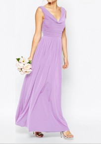 Light Purple Lavender Backless Pleated V-neck Beach Weddings Bridesmaid Party Elegant Maxi Dress