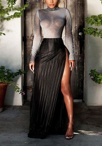 Black-Silver Bright Wire Sheer Pleated Thigh High Side Slits Two Piece Clubwear Maxi Dress