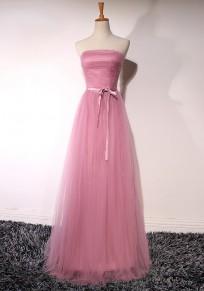 Pink Patchwork Grenadine Bandeau Off Shoulder Draped Bridesmaid Elegant Maxi Dress