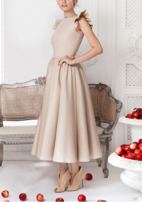 Apricot Plain Pleated Round Neck Elegant Midi Dress