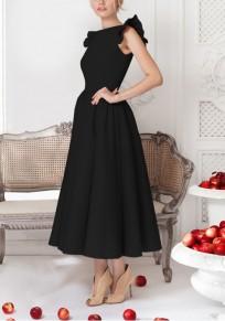 Robe cheville longueur plissé à volantée manches élégant vintage noir