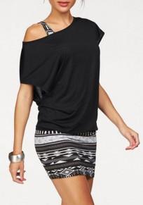 Black Geometric Print Asymmetric Shoulder Two Piece Multi Way Casual Mini Dress
