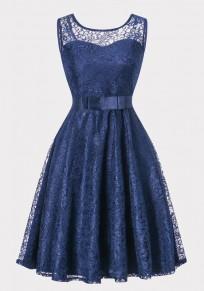 Marineblau Spitze Schleife Gürtel Rückenausschnitt Ärmellos Elegante Midikleid Ballkleid Cocktailkleid