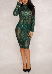 Dark Green Grenadine Sequin Zipper Glitter Sheer Bodycon Clubwear Party Midi Dress
