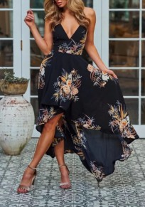 Black Irregular Slit Spaghetti Strap Flowy Deep V-neck Vegas Bohemian Beach Maxi Dress