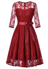 Burgundy Lace Draped Bow Tutu Elegant Vintage Party Midi Dress
