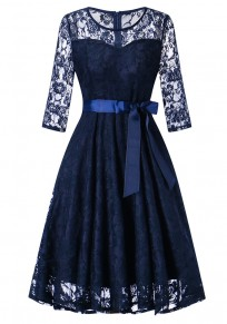 Navy Blue Lace Draped Bow Tutu Elegant Vintage Party Midi Dress