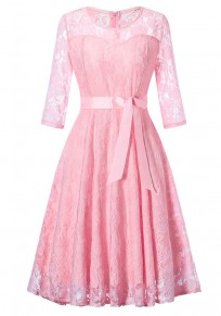 Pink Lace Draped Bow Tutu Elegant Vintage Party Midi Dress