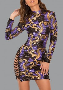 Purple Floral Sequin Lace-up Cut Out Sparkly Bodycon Clubwear Party Mini Dress