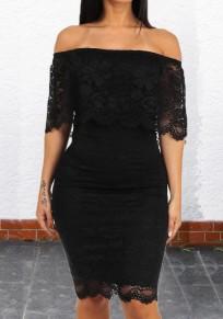 Black Lace Ruffle Off Shoulder Backless Bodycon Elegant Party Midi Dress