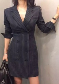 Navy Blue-White Striped Buttons Deep V-neck Office Worker/Daily Mini Dress