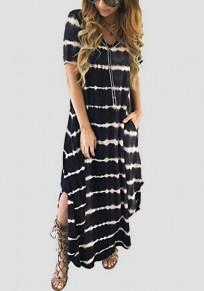 Black-White Striped Pockets Side Slit V-neck Casual Maxi Dress