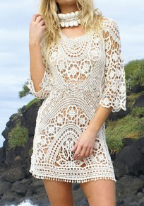 Beige Floral Lace Cut Out Backless 3/4 Sleeve Beach Cover-Up Bikini Smock