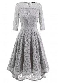 Grey Pleated Pleated Elbow Sleeve Tutu Elegant Party Swallowtail Midi Dress