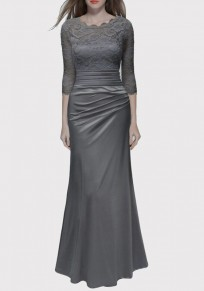 Vestido largo fiesta de noche plisada de encaje elegante gris