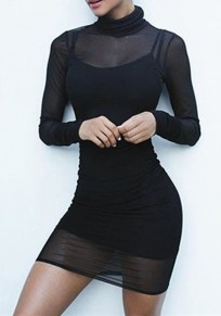 Black Plain High Neck Long Sleeve Mini Dress