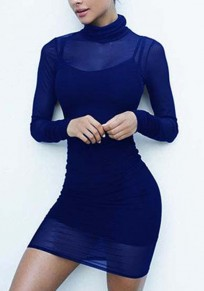 Sapphire Blue Plain High Neck Long Sleeve Mini Dress