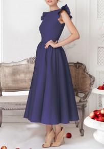 Navy Blue Plain Pleated Round Neck Party Midi Dress