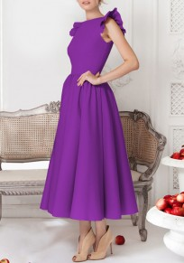 Purple Plain Pleated Round Neck Party Midi Dress