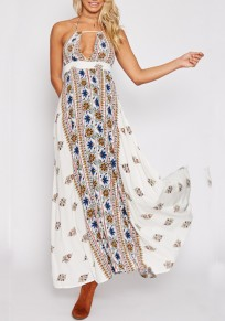 White Tribal Floral Pattern Cut Out Halter Neck Backless Beach Boho Mexican Maxi Dress
