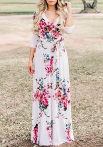 White Floral Pattern Sashes Draped 3/4 Sleeve Deep V-neck Bohemian Maxi Dress