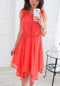 Wassermelone Rot Unregelmäßige Rundhals Bohemien Midi Dress