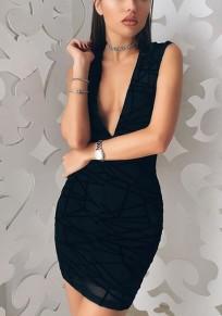Mini-robe imprimé géométrique fermeture éclair décolleté plongueeant noir