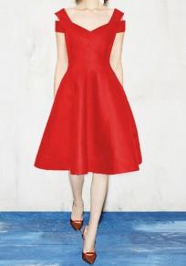 Vestido A media pierna escote en pico plisado manga corta tutú elegante rojo