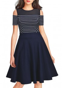 Navy Blue-White Striped Draped Cut Out Sleeve Party Midi Dress