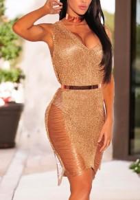 Rose Gold Bright Draht unregelmäßigen ausgeschnittenen tiefen V-Ausschnitt zerstört Vereinwear Partei Midi Kleid