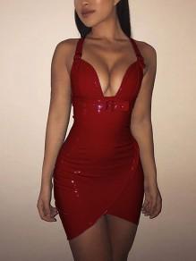 Burgundy Zipper Spaghetti Strap PU-Leather Latex Deep V-neck Bodycon Clubwear Party Midi Dress