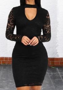 Mi-longue robe crayon en dentelle découpes licou manches longues moulante élégant de cocktail noir
