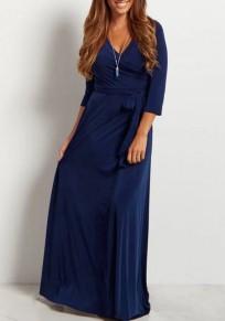 Navy Blue Draped Sashes V-neck 3/4 Sleeve Elegant Prom Evening Party Maxi Dress
