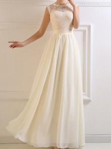 White Patchwork Draped Lace Round Neck Sleeveless Elegant Bridesmaid Maxi Dress